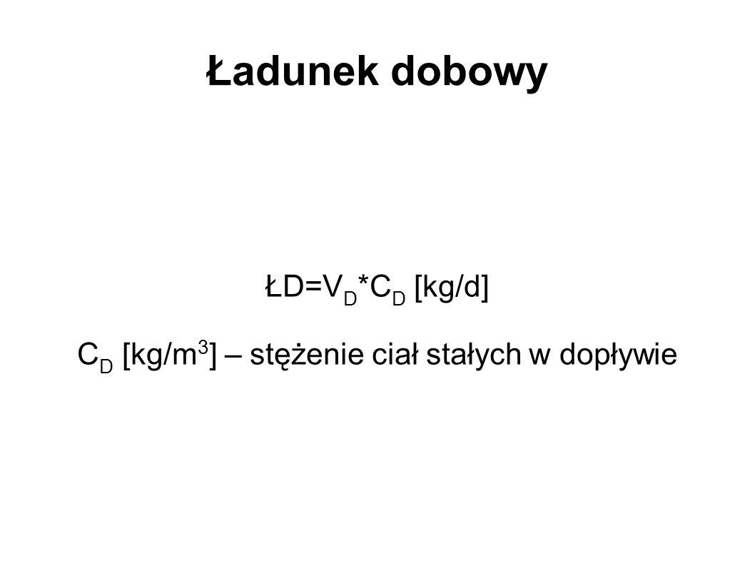 ŁD=VD*CD [kg/d] CD [kg/m3] – stężenie ciał stałych w dopływie